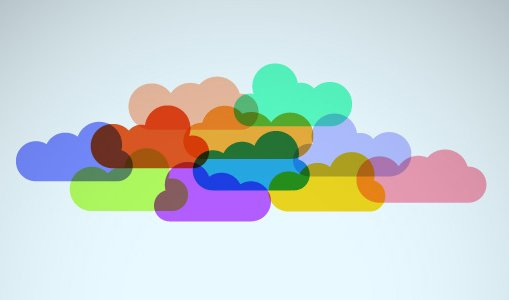 multi-colored clouds partially overlapping