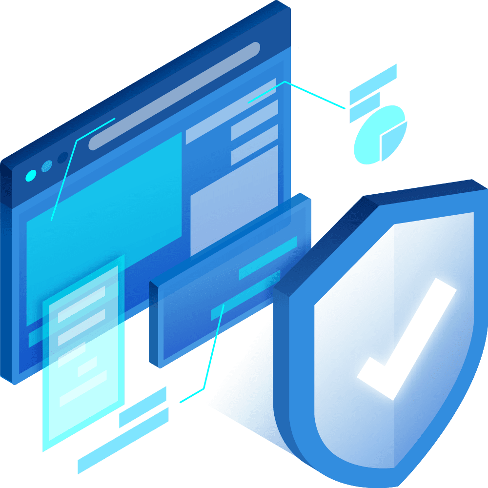 cyber security graphic showing badge and checkmark