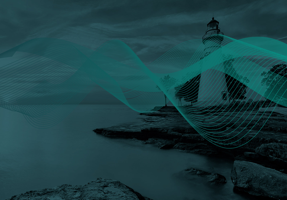 lighthouse with green swirls